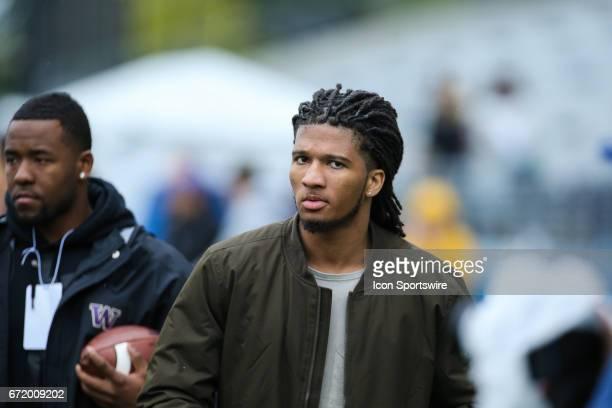 Washington Husky 2017 NFL draft prospect DB Sidney Jones in attendance during the Spring Game on April 22 at Husky Stadium in Seattle Washington