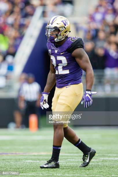 Washington Lavon Coleman gets set for a play during a college football game between the Washington Huskies and the Montana Grizzlies on September 9...