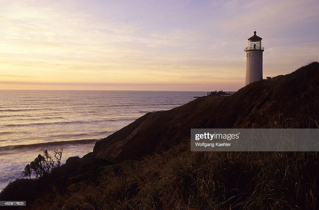 USA Washington Long Beach Peninsula Fort Canby State Park North Head Lighthouse In Evening Light