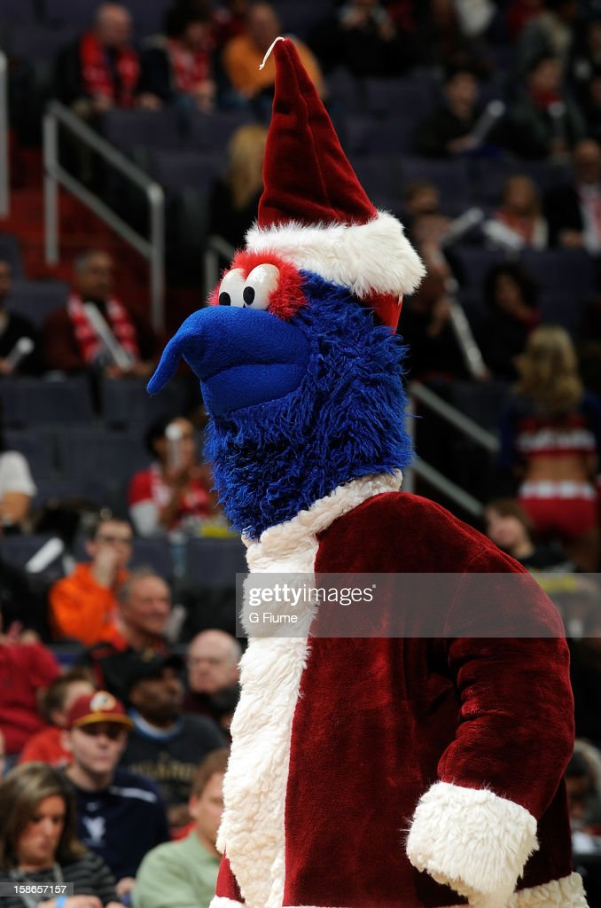 Washington mascot G-wiz performs during the game between the Detroit Pistons and the Washington Wizards at the Verizon Center on December 22, 2012 in Washington, DC.