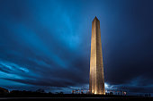 Washington Monument at night with dramatic clouds