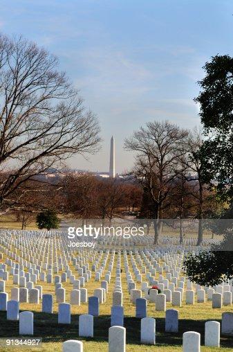 Washington Monument Over Tombstones Vertical