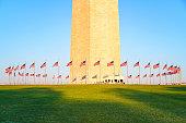 Washington Monument in Washington DC illuminated by morning sun