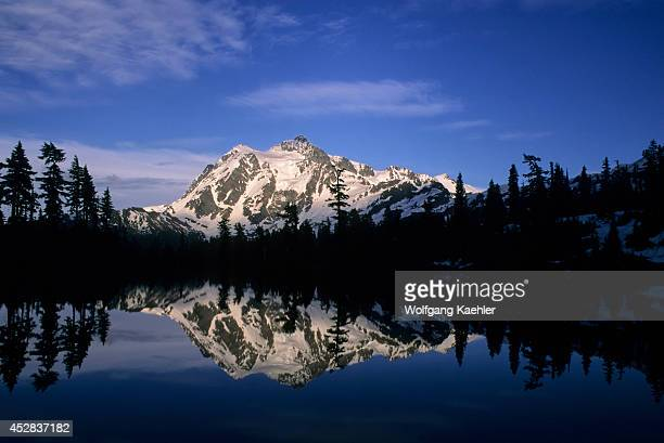 USA Washington Mount Baker National Forest Heather Meadows Picture Lake View Of Mount Shuksan