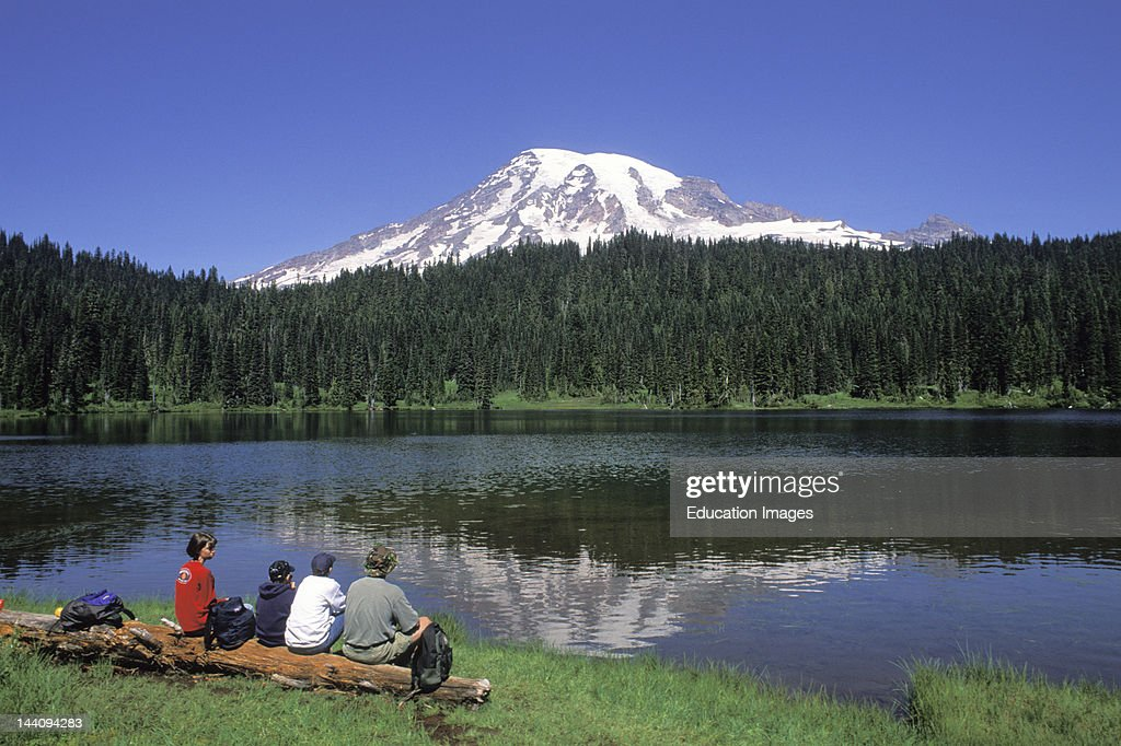 Washington, Mount Rainier, Family At Reflection Lake.