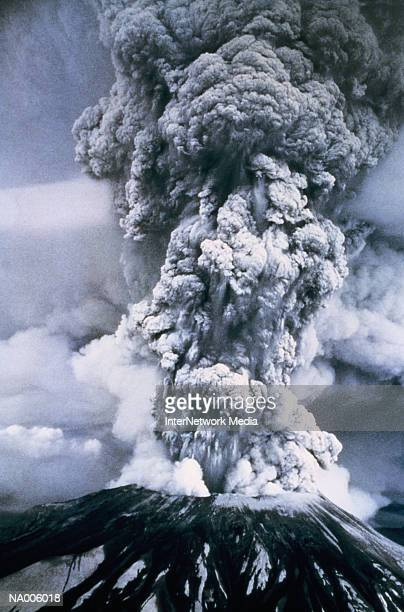 USA, Washington, Mount St. Helens erupting (B&W)