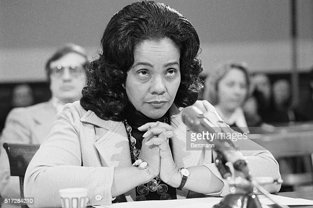 Mrs Coretta Scott King widow of the assassinated civil rights leader appears before a House Education and Labor subcommittee on legislation to combat...