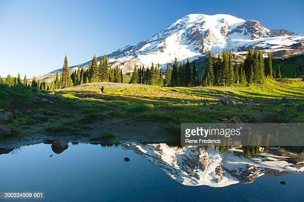 USA, Washington, Mt. Rainier National Park, hiker on path