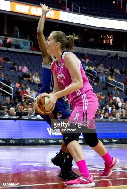 Washington Mystics center Emma Meesseman prepares to shoot during a WNBA game on August 18 between the Washington Mystics and the Phoenix Mercury at...