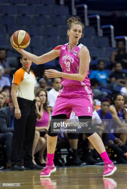 Washington Mystics center Emma Meesseman readies a pass during a WNBA game on August 18 between the Washington Mystics and the Phoenix Mercury at...