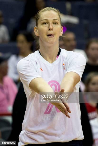 Washington Mystics center Emma Meesseman warms up before a WNBA game on August 18 between the Washington Mystics and the Phoenix Mercury at Capital...