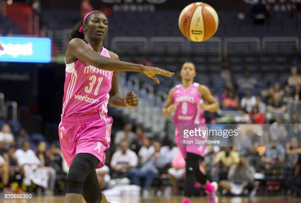 Washington Mystics forward Asia Taylor makes a pass during a WNBA game on August 18 between the Washington Mystics and the Phoenix Mercury at Capital...