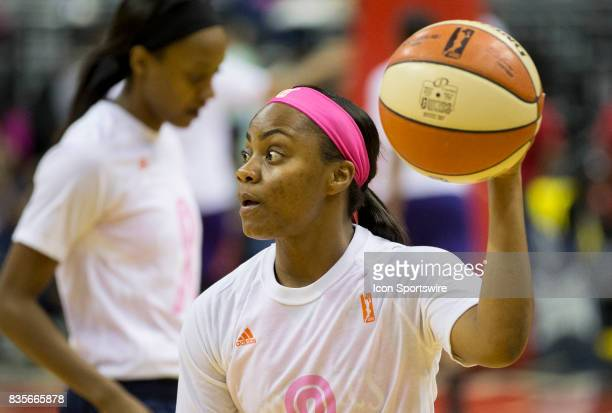 Washington Mystics guard Ivory Latta warms up before a WNBA game on August 18 between the Washington Mystics and the Phoenix Mercury at Capital One...