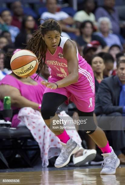 Washington Mystics guard Tierra RuffinPratt moves up court during a WNBA game on August 18 between the Washington Mystics and the Phoenix Mercury at...