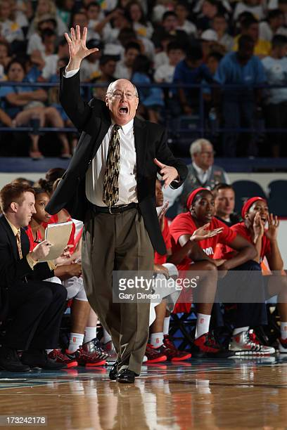 Washington Mystics Head Coach Mike Thibault directs his team during the game against the Chicago Sky on July 10 2013 at the Allstate Arena in...