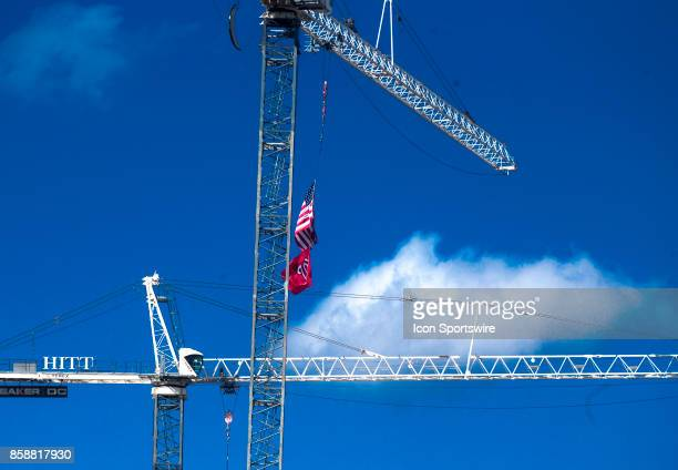 Washington Nationals banner on a crane at a nearby construction site before game two of the NLDS between the Chicago Cubs and the Washington...