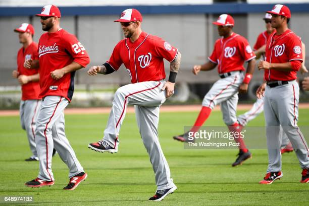 Washington Nationals Brandon Snyder stretches with the team during morning workouts at the Ballpark of the Palm Beaches in West Palm Beach Fl on...