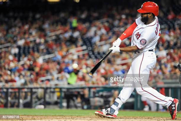 Washington Nationals center fielder Brian Goodwin hits a seventh inning double during an MLB game between the Miami Marlins and the Washington...