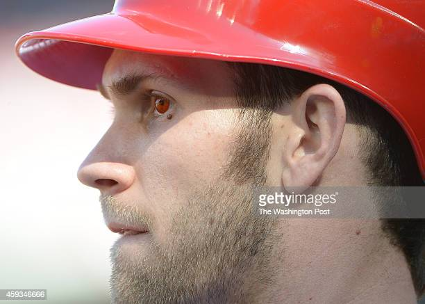 Washington Nationals center fielder Bryce Harper wears red contact lenses during game three of the NLDS on Oct 8 2012 in Washington DC