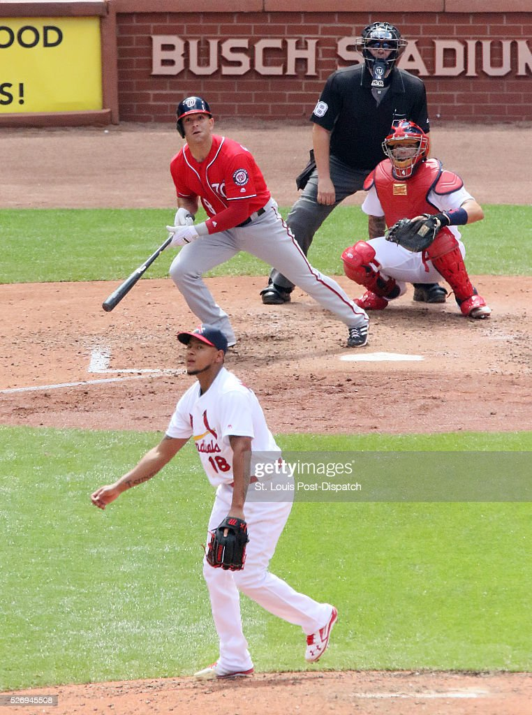 Washington Nationals' Danny Espinosa hits a solo home run off of St. Louis Cardinals starting pitcher Carlos Martinez during the seventh inning on Sunday, May 1, 2016, at Busch Stadium in St. Louis.