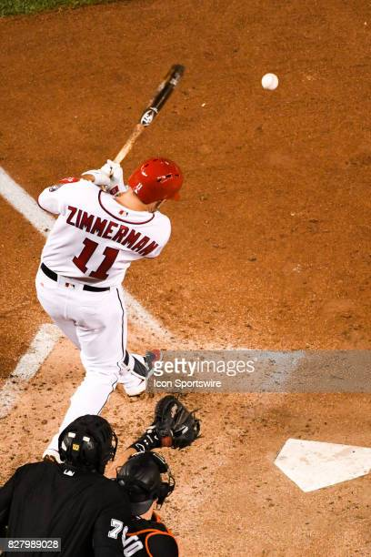 Washington Nationals first baseman Ryan Zimmerman grounds into an inning ending double play in the sixth inning during an MLB game between the Miami...