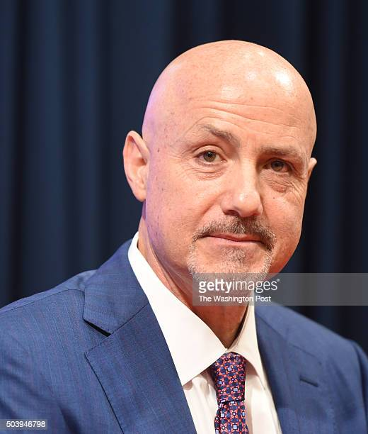 Washington Nationals GM Mike Rizzo during the press conference to introduce new Nationals infielder Daniel Murphy on January 7 2016 in Washington DC