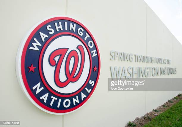 Washington Nationals logo on the wall of the Washington Nationals spring training facility at The Ballpark of the Palm Beaches in West Palm Beach...
