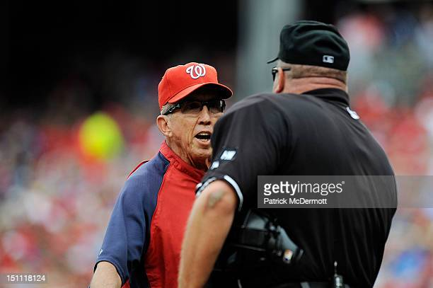Washington Nationals manager Davey Johnson argues with home plate umpire Wally Bell during a game against the St Louis Cardinals at Nationals Park on...