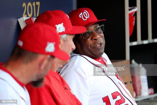 Washington Nationals manager Dusty Baker in the dugout before Game 2 of the National League Division Series against the Chicago Cubs at Nationals...