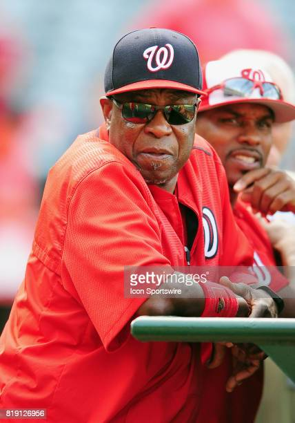 Washington Nationals manager Dusty Baker leans on the batting cage during batting practice before a game against the Los Angeles Angels of Anaheim on...