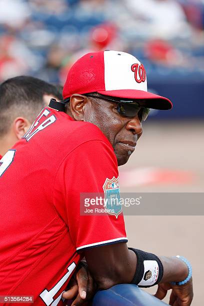 Washington Nationals manager Dusty Baker looks on during a spring training game against the New York Mets at Space Coast Stadium on March 3 2016 in...