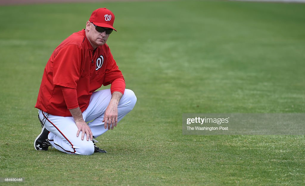 Washington Nationals manager <a gi-track='captionPersonalityLinkClicked' href=/galleries/search?phrase=Matt+Williams+-+Baseball+Manager&family=editorial&specificpeople=11566291 ng-click='$event.stopPropagation()'>Matt Williams</a> (9) keeps an eye on the team during spring training workouts on March 1, 2015 in Viera, FL.