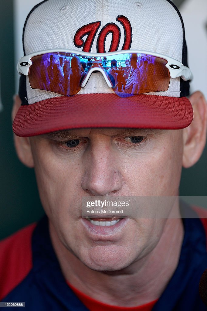 Washington Nationals manager Matt Williams speaks to members of the media before a game against the Baltimore Orioles at Oriole Park at Camden Yards on July 10, 2014 in Baltimore, Maryland.