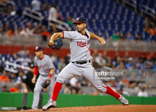 Washington Nationals pitcher Gio Gonzalez works during the first inning against the Miami Marlins at Marlins Park in Miami on Tuesday June 20 2017...