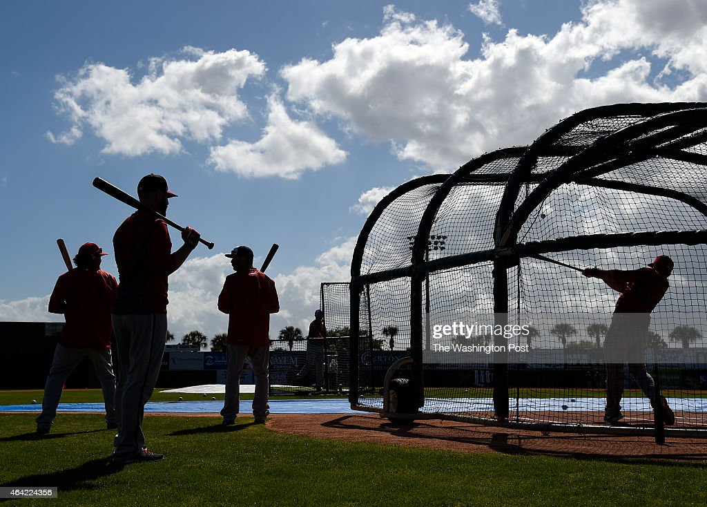 Washington Nationals position players take batting practice during spring training at the team's facilities in Viera FL on Sunday February 22 2015