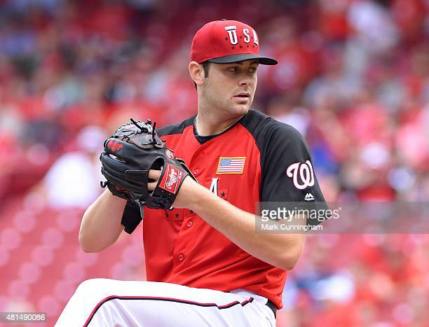 Washington Nationals prospect Lucas Giolito of Team USA pitches during the SiriusXM AllStar Futures Game against the World Team at Great American...