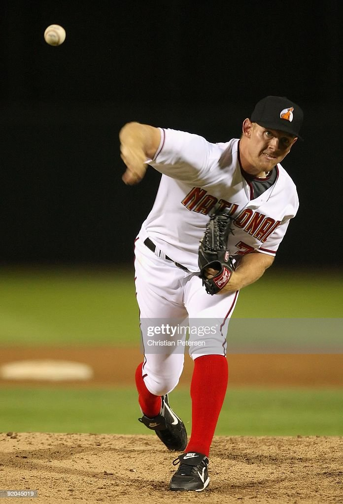 Washington Nationals prospect <a gi-track='captionPersonalityLinkClicked' href=/galleries/search?phrase=Stephen+Strasburg&family=editorial&specificpeople=6164496 ng-click='$event.stopPropagation()'>Stephen Strasburg</a> #37, playing for the Phoenix Desert Dogs, pitches in the Arizona Fall League game against the Scottsdale Scorpions at Phoenix Municipal Stadium on October 16, 2009 in Phoenix, Arizona.