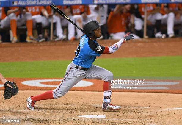 Washington Nationals prospect Victor Robles of the World Team bats during the 2017 SiriusXM AllStar Futures Game at Marlins Park on July 9 2017 in...
