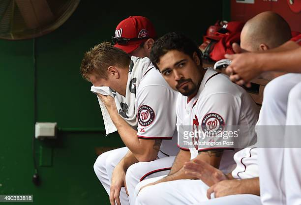 Washington Nationals relief pitcher Jonathan Papelbon sits in the dugout after his ninth inning outing and a fight with Bryce Harper during action...