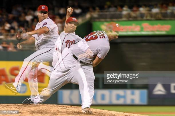 Washington Nationals relief pitcher Matt Albers pitches in an in camera multiple exposure in the eighth inning during an MLB game between the Miami...
