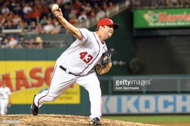 Washington Nationals relief pitcher Matt Albers pitches in the eighth inning during an MLB game between the Miami Marlins and the Washington...