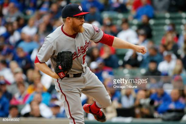 Washington Nationals relief pitcher Sean Doolittle works in the ninth inning against the Chicago Cubs at Wrigley Field on Friday Aug 4 2017 The...