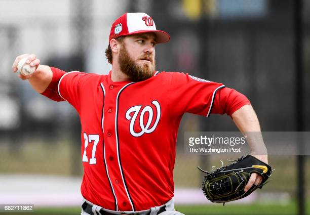 Washington Nationals relief pitcher Shawn Kelley throws live batting practice at the Ballpark of the Palm Beaches in West Palm Beach Fl on February...