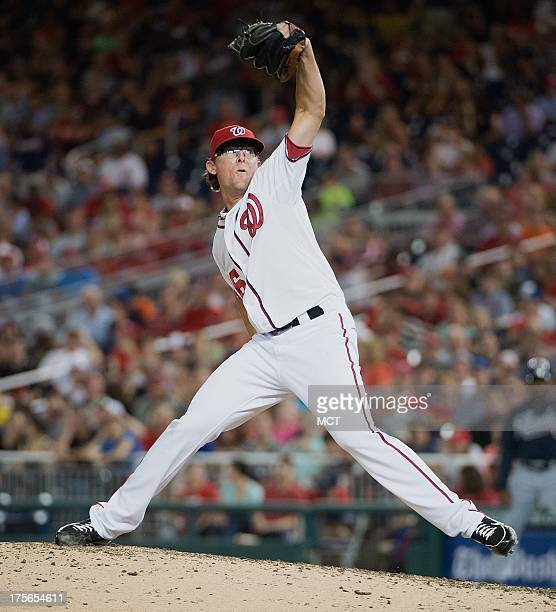 Washington Nationals relief pitcher Tyler Clippard delivers a pitch against the Atlanta Braves during the eight inning at Nationals Park in...