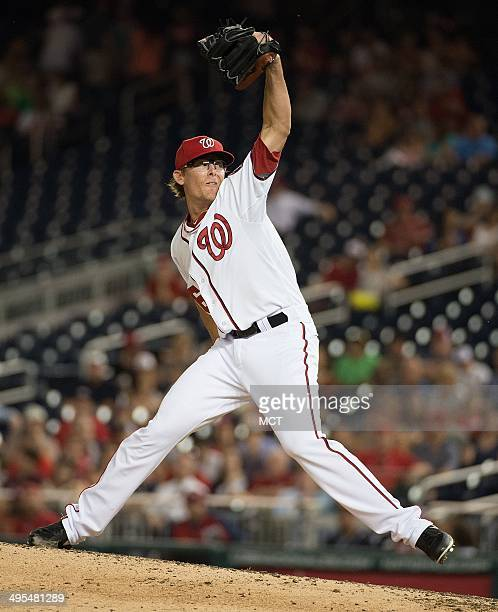 Washington Nationals relief pitcher Tyler Clippard delivers a pitch against the Philadelphia Phillies during the ninth inning of their game at...