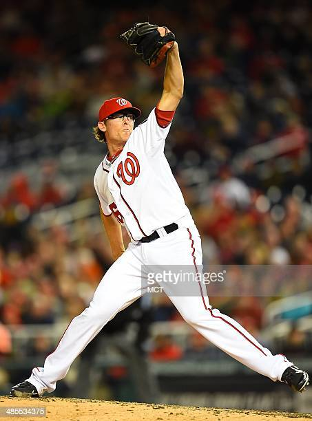 Washington Nationals relief pitcher Tyler Clippard works in the eighth inning against the St Louis Cardinals at Nationals Park in Washington Friday...