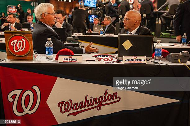 Washington Nationals representatives Bob Boone and Johnny DiPuglia are seen during the 2013 FirstYear Player Draft at MLB Network's Studio 42 on June...
