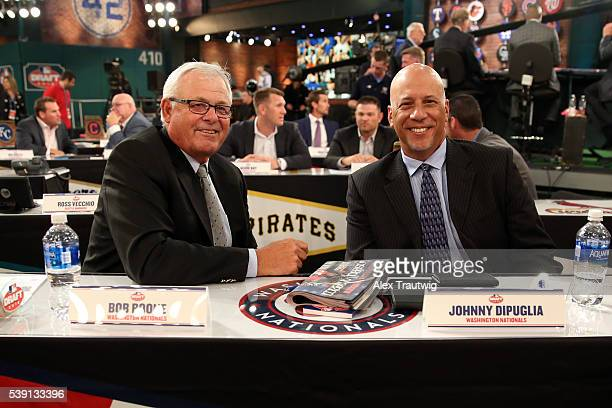 Washington Nationals representatives Bob Boone and Johnny DiPuglia pose for a photo prior to the 2016 Major League Baseball FirstYear Player Draft at...