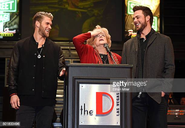 Washington Nationals right fielder and Major League Baseball 2015 National League Most Valuable Player Bryce Harper and Chicago Cubs third baseman...