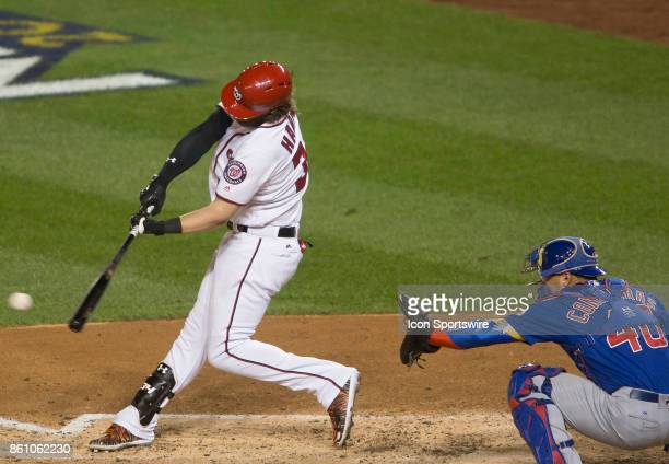 Washington Nationals right fielder Bryce Harper at bat during game five of the NLDS between the Washington Nationals and the Chicago Cubs on October...